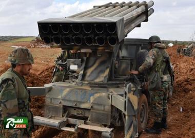 40 صاروخا سوريا تنهمر على أرتال لجبهة النصرة جنوب إدلب